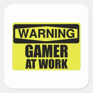 Adesivo Quadrado Gamer do sinal de aviso no trabalho engraçado