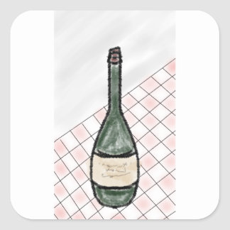 Adesivo Quadrado Garrafa de vinho