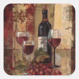 Adesivo Quadrado Garrafa de vinho e vidros de vinho