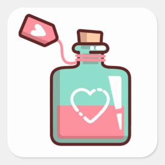 Adesivo Quadrado Garrafa dos corações da poção de amor
