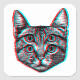 Adesivo Quadrado Gato 3d, 3d gato, gato preto e branco