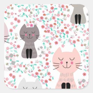 Adesivo Quadrado Gato bonito do gatinho do vintage no jardim