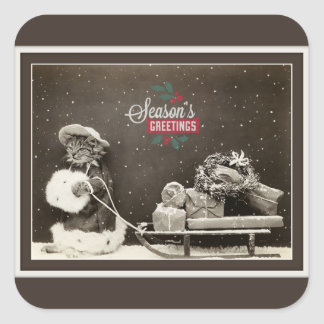 Adesivo Quadrado Gato bonito super do natal vintage