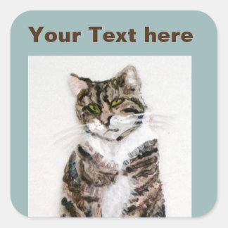 Adesivo Quadrado Gato de gato malhado bonito
