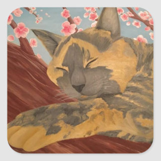 Adesivo Quadrado Gato do sono da flor de cerejeira
