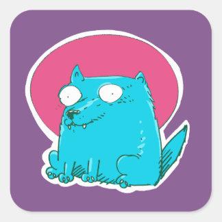 Adesivo Quadrado gato doce que senta-se nos desenhos animados