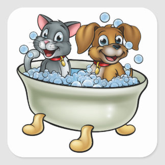 Adesivo Quadrado Gato e cão dos desenhos animados no banho