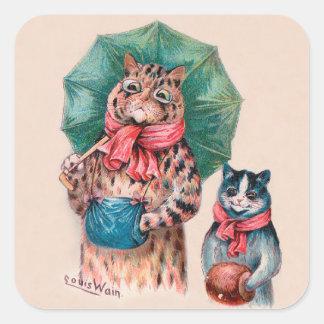 Adesivo Quadrado Gato e gatinho de Louis Wain com guarda-chuvas