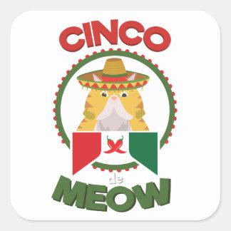 Adesivo Quadrado Gato engraçado para o feriado do mexicano de Cinco