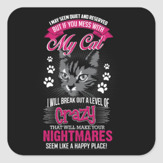Adesivo Quadrado Gato louco