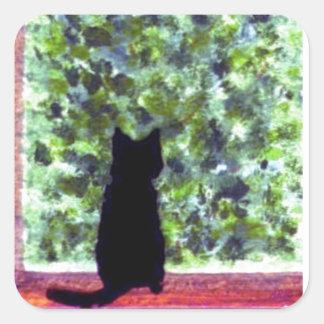Adesivo Quadrado Gato preto bonito da arte do gato na pintura da