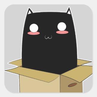 Adesivo Quadrado Gato preto em uma caixa