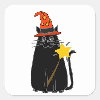 Adesivo Quadrado Gato preto legal na arte do Dia das Bruxas do