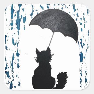 Adesivo Quadrado Gato sob o guarda-chuva