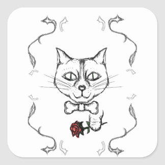 Adesivo Quadrado Gato sofisticado
