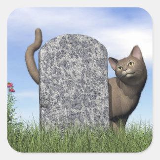 Adesivo Quadrado Gato triste perto da lápide