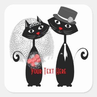 Adesivo Quadrado Gatos bonitos do casamento do noivo da noiva |
