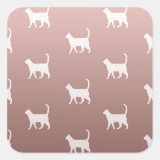 Adesivo Quadrado Gatos no ouro cor-de-rosa