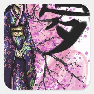 Adesivo Quadrado Geisha