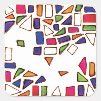 Adesivo Quadrado Gemas - cor-de-rosa, formas amarelas, verdes,