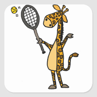 Adesivo Quadrado Girafa bonito do divertimento que joga desenhos