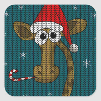 Adesivo Quadrado Girafa do Natal