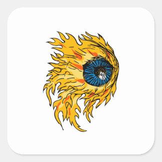 Adesivo Quadrado Globo ocular flamejante no desenho do fogo