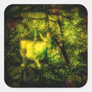 Adesivo Quadrado Gnomo e Faun em uma floresta Enchanted