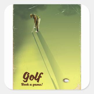 """Adesivo Quadrado Golfe """"livro poster vintage de um jogo"""""""