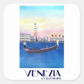 Adesivo Quadrado Gôndola de Veneza Italia no canal grande com San