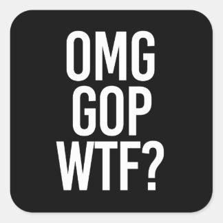 Adesivo Quadrado GOP WTF DE OMG -- - branco -