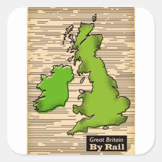 Adesivo Quadrado Grâ Bretanha pelo poster de viagens do trilho