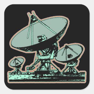 Adesivo Quadrado Gráfico retro da antena parabólica