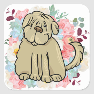 Adesivo Quadrado Grande cão macio com flores