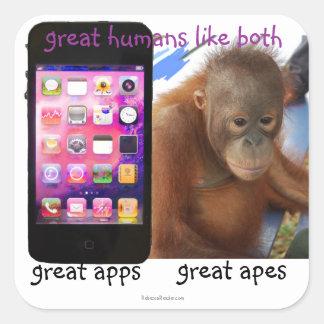Adesivo Quadrado Grande humor do grande macaco de Apps do telefone