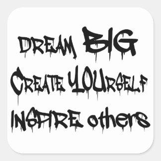 Adesivo Quadrado Grandes ideais criam-se inspiram outro pretos