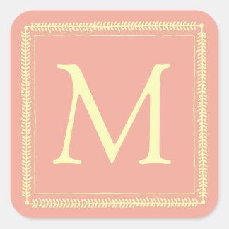 Adesivo Quadrado Grinalda de creme no monograma cor-de-rosa