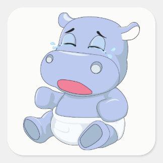 Adesivo Quadrado Grito do hipopótamo do bebê