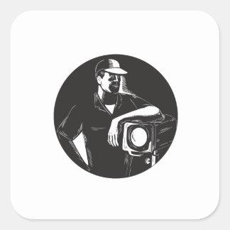 Adesivo Quadrado Grupo de filme que ilumina o círculo Woodcu do