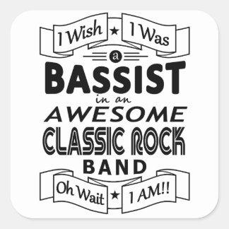 Adesivo Quadrado Grupo de rock clássico impressionante do BAIXISTA