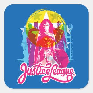 Adesivo Quadrado Grupo retro da liga de justiça | & pop art do