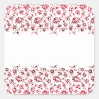 Adesivo Quadrado Grupos de flores cor-de-rosa