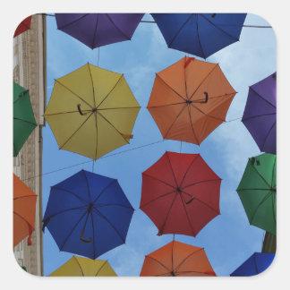 Adesivo Quadrado Guarda-chuvas coloridos
