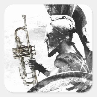 Adesivo Quadrado Guerreiro da trombeta