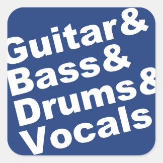 Adesivo Quadrado Guitar&Bass&Drums&Vocals (branco)