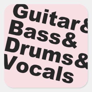 Adesivo Quadrado Guitar&Bass&Drums&Vocals (preto)