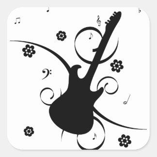 Adesivo Quadrado Guitarra elétrica preta com teste padrão floral