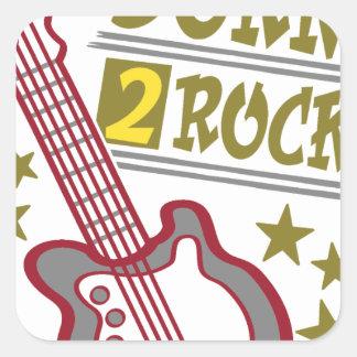 Adesivo Quadrado Guitarra nascida da rocha, design do guitarrista