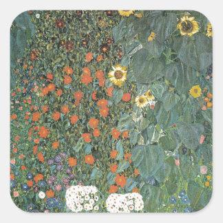 Adesivo Quadrado Gustavo Klimt - flores dos girassóis do jardim do