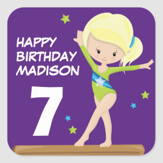 Adesivo Quadrado Gymnast do feliz aniversario